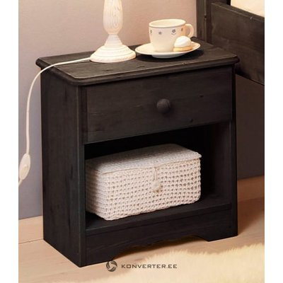 Black solid wood nightstand with drawer