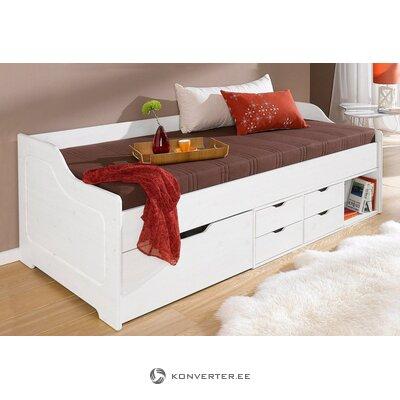 Massiivipuinen sänky valkoisilla laatikoilla (90x200cm)