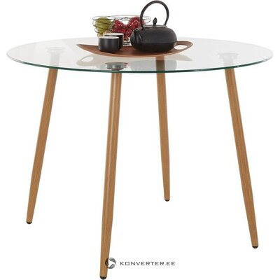 Glass round dining table (with defect ,, in a box)