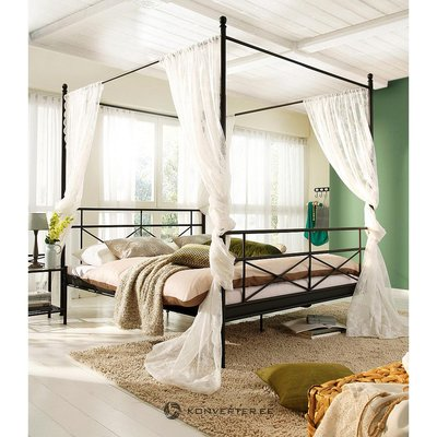 Black metal canopy bed (160x200)
