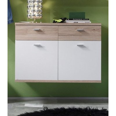 White-brown wall cabinet with 2 doors and 2 drawers (campus) (with beauty defects, in box)