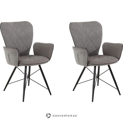 Gray-black chair with armrests (full, showcase)