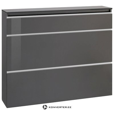 Gray high gloss wide shoe cabinet (with strong beauty defects, in a box)