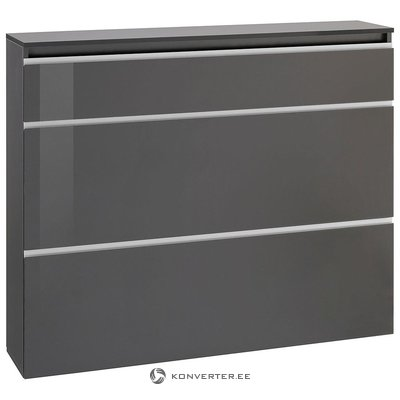 Gray high-gloss wide shoe cabinet (with hidden beauty defects, in a box)