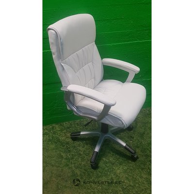 White leather office chair on wheels