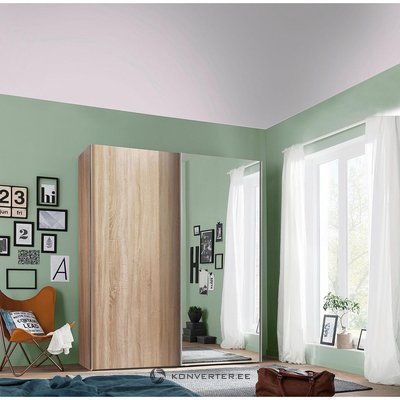 Brown wardrobe with mirror and sliding doors (width 150cm) (box, mirror broken)