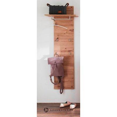 Ruskea seinähylly, jossa telineet (nala) (koko, laatikossa)