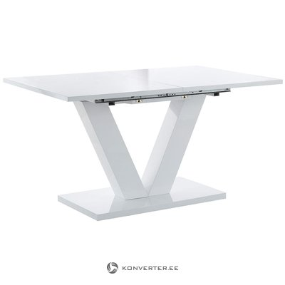 Valkoinen kiiltävä laajennettava ruokapöytä (kauneusvikoilla) (kopio)