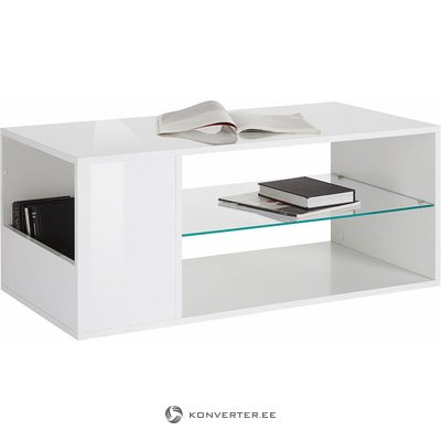 White high gloss sofa table with glass shelf (with defects)
