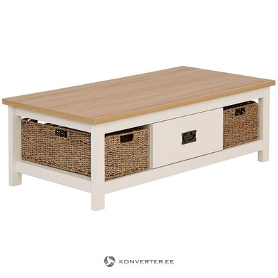 Brown-white solid wood coffee table with 1 drawer and 2 baskets (whole, hall sample)