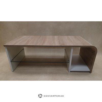 Ruskea ja valkoinen sohvapöytä lasihyllyillä (laatikossa, kauneusvikoilla!)