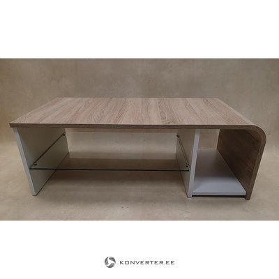 Brown and white coffee table with glass shelves (in box, with beauty defects,)