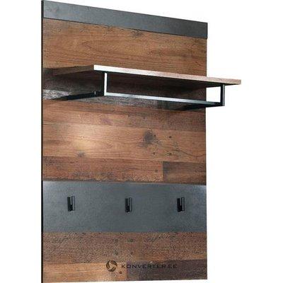 Tummanruskea-harmaa seinähylly telineillä (indy) (laatikossa, kauneusvikoilla!)
