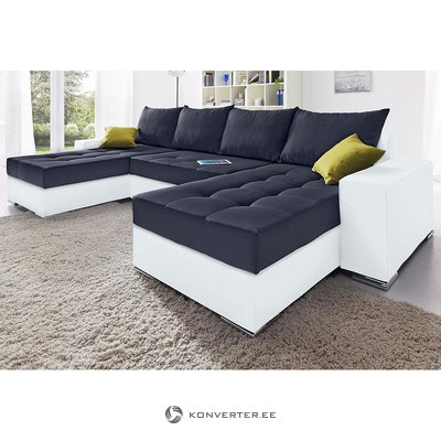 Черно-белый угловой диван (в коробке, с косметическими дефектами)