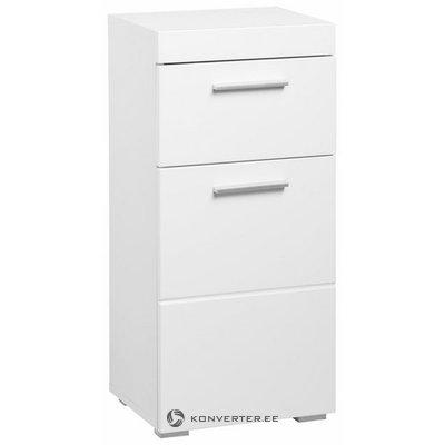 Balts, spīdīgs skapis ar 1 atvilktni un 1 durvīm (amanda) (veseli)