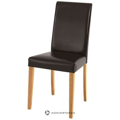 Dark brown leather chair with wooden legs (whole, sample room)
