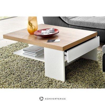 Бело-коричневый журнальный столик с выдвижным ящиком (с дефектами красоты, образец зала)