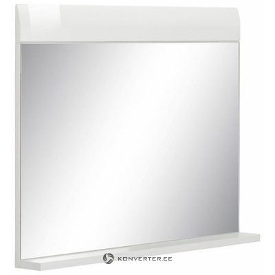 White high gloss wall mirror with shelf (whole, in box)