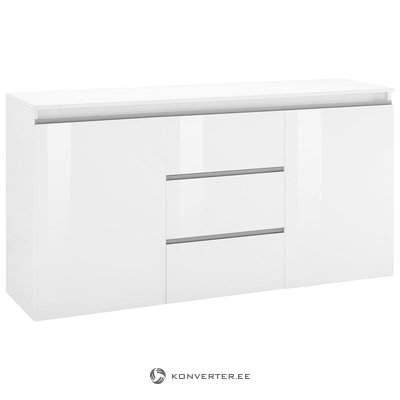 White high gloss wide chest of drawers (width 150cm)