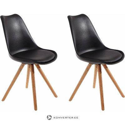 Bendy Dining Chair black Plastic / PU / solid oak / set of 2