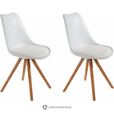 Brenda Dining Chair white Plastic / PU / solid oak / set of 2