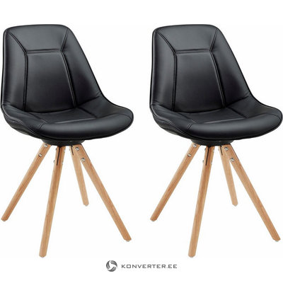 Mel Dining Chair black PU / solid oak / set of 2