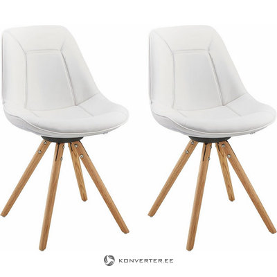 Mel Dining Chair white PU / solid oak / set of 2