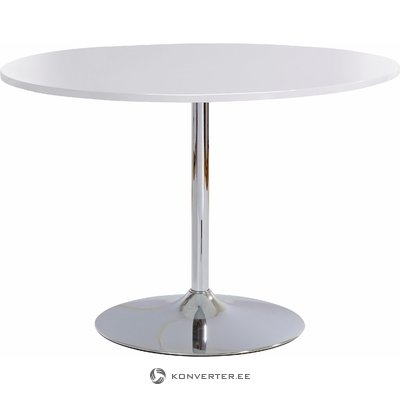 Terri Table round white high gloss / chrome