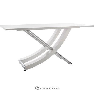 Carl Table white high gloss / chrome