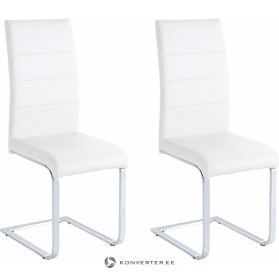 Cara Dining Chair white PU / chrome / set of 2