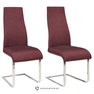 Teresa Dining Chair bordeaux fabric / chrome / set of 2