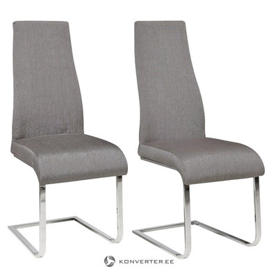 Teresa Dining Chair grey fabric / chrome / set of 2
