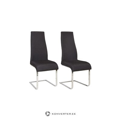 Teresa Dining Chair black fabric / chrome / set of 2
