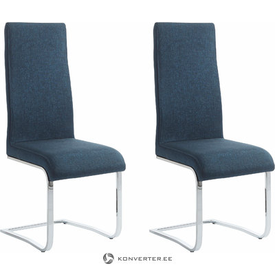 Teresa Dining Chair blue fabric / chrome / set of 2