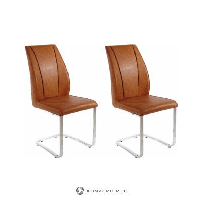 Claudia chair 2x cognac/chrome
