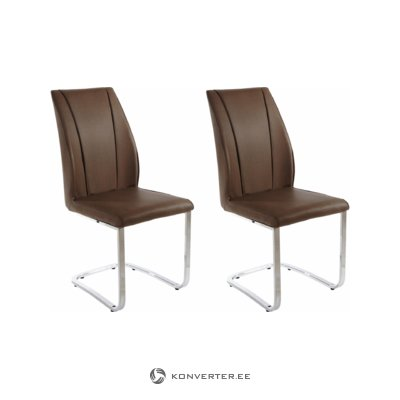 Claudia chair 2x brown/chrome