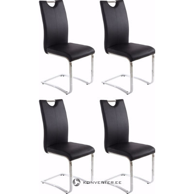 Villa chair 4-pack black PU