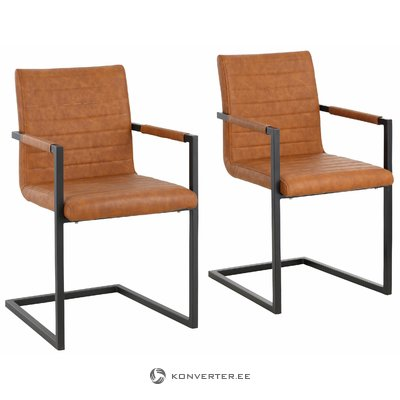 Sandra Dining Chair cognac PU / metal / armrest / set of 2