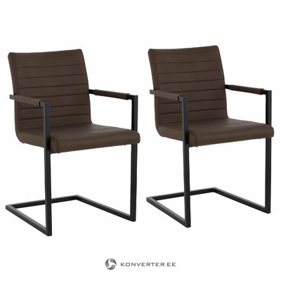 Sandra Dining Chair brown PU / metal / armrest / set of 2