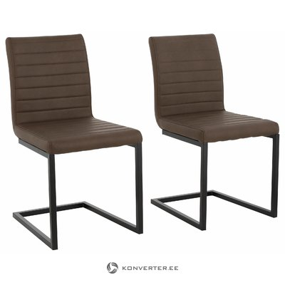 Sandra Dining Chair brown PU / metal / set of 2