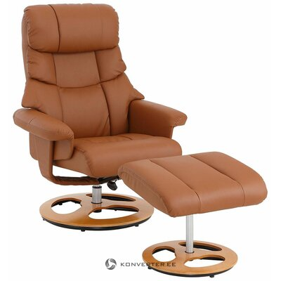 Brown swivel leather armchair (hall sample, with beauty defects)