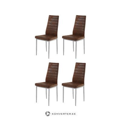 Kiko Chair 4 pack - Microfiber Brown