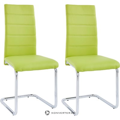 Amber chair 4 pairs - green/chrome