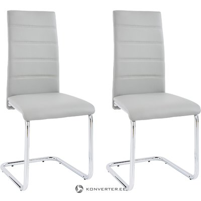 Amber chair 4 pairs - light grey/chrome