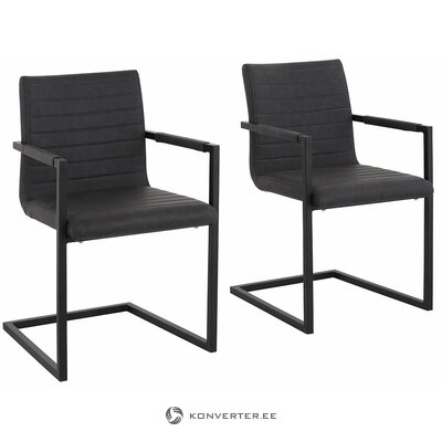 Leather gray chair with metal construction (with flaws, hall sample)