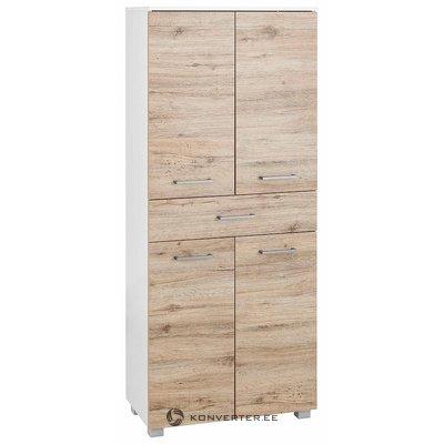 Ruskea-valkoinen kaappi, jossa 1 laatikko ja 4 ovet