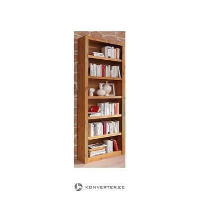 Vaaleanruskea korkea kirjahylly (salinäyte, kauneusvirheillä)