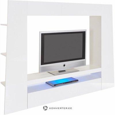 Balta didelė blizga televizoriaus spinta