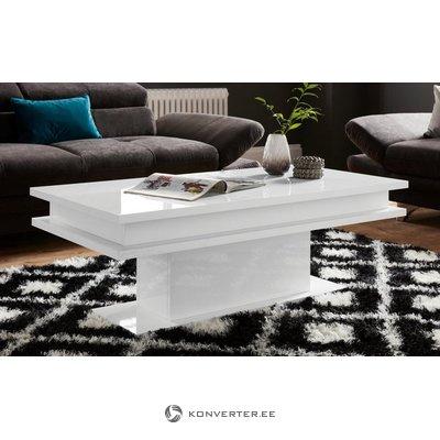Valkoinen kiiltävä sohvapöytä (kokonainen, näytehalli)