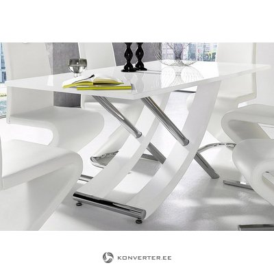 White-chrome high-gloss dining table (kaleo) (with beauty defects)